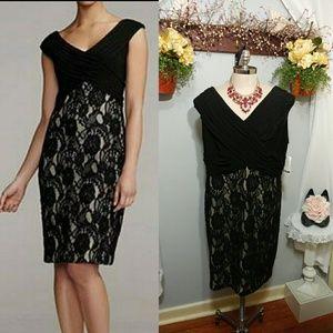 Davids Bridal black lace cocktail dress size 24W